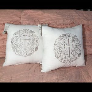 NWT Decorative Embroidered Cross Pillow